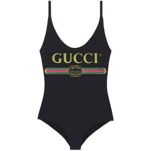 NWT Gucci Black Logo One Piece Swimsuit Size Large